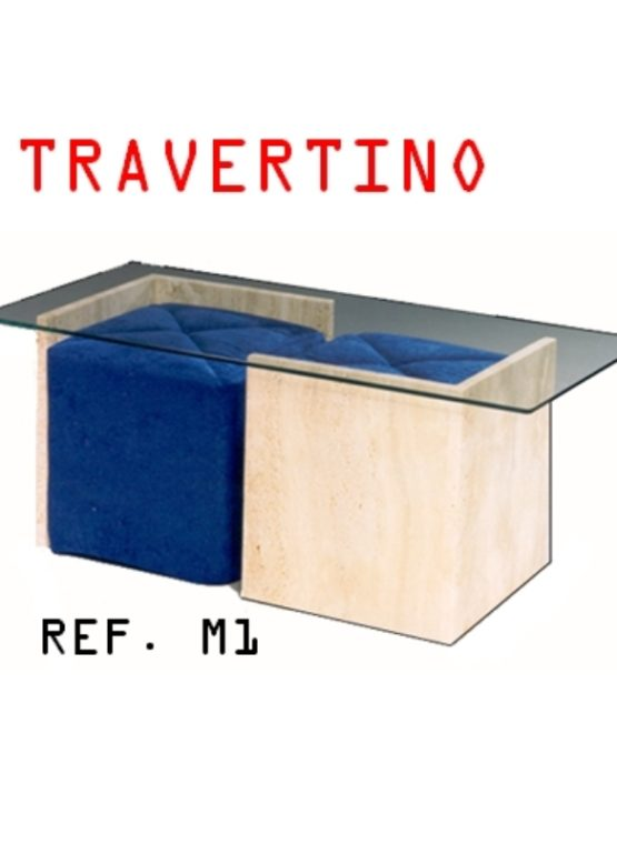MESA CENTRO MÁRMOL travertino CRISTAL